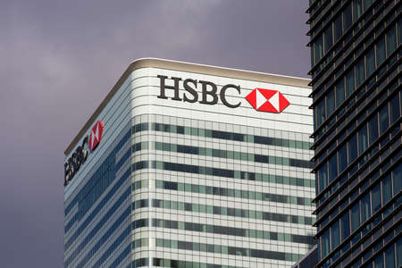 LONDON, UK - JANUARY 30, 2016: HSBC Sign on office building in Canary Wharf, London