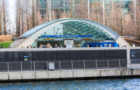 LONDON, UK - JANUARY 30, 2016: Modern entrance to Jubilee line tube station in Canary Wharf, Docklands, London, England