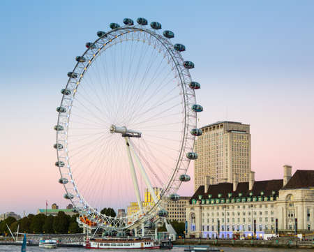 LONDON, UK - OCTOBER 1, 2015: London Eye or Millenium Wheel on South Bank of River Thames in London England