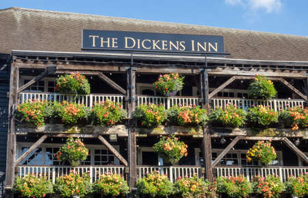 LONDON, UK - OCTOBER 1, 2015: Exterior of the Dickens Inn Grill in St Katherines Dock, London, England