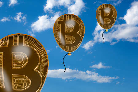 Illustration of the rise in bitcoin values with balloons or bubbles floating into blue sky