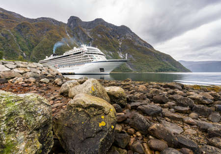 EIDFJORD, NORWAY - 21 SEPTEMBER 2017: Viking Star cruise ship docked at the quayside in Eidfjord in Norway