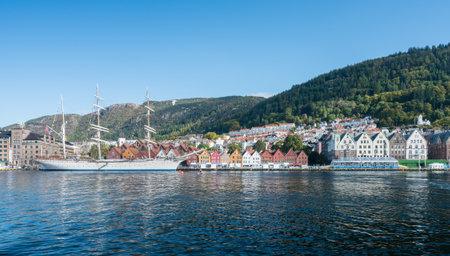 BERGEN, NORWAY - 23 SEPTEMBER, 2017: Three masted ship by dockside in Bergen harbor, Norway