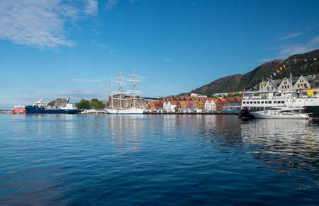 BERGEN, NORWAY - 23 SEPTEMBER, 2017: Three masted ship by dockside in Bergen harbor, Norway