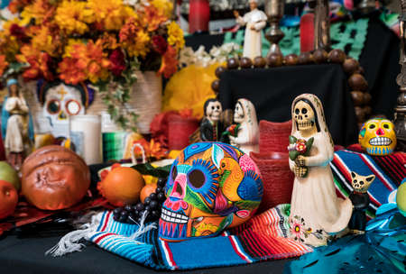 CAPISTRANO, CALIFORNIA - 1 NOVEMBER 2017: Painted skulls in display to illustrate Day of the Dead Festival.