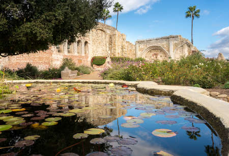 Panorama of the remains of the old church at San Juan Capistrano mission Stock Photo