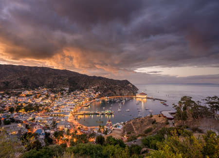 Panorama on Catalina Island off California at sunset with harbor at Avalon