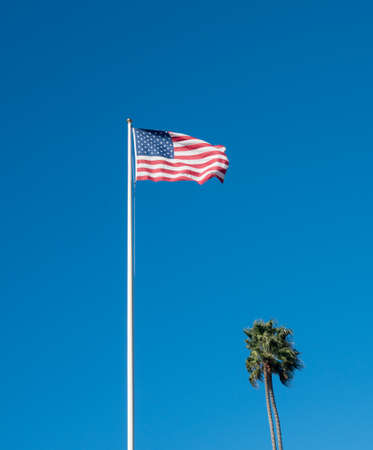Wind blows the USA flag against blue sky alongside palm tree at the memorial at recreation point in Laguna Beach