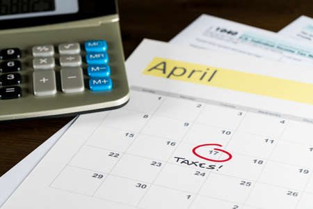 Calendar On Top Of Form 1040 Income Tax Form For 2017 Showing