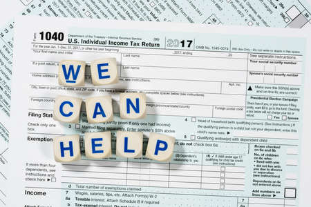 Close Macro Photo Of Usa Irs Tax Form 1040 For Year 2017 Taken
