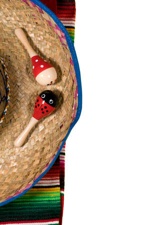 Cinco de Mayo background image on with maracas and sombrero isolated on white layer Stock Photo
