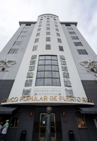 SAN JUAN, PR - MARCH 4, 2018: Entrance to Banco Popular de Puerto Rico in San Juan.