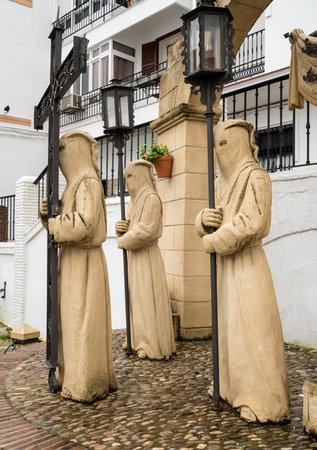 ARCOS DE LA FRONTERA, SPAIN - MARCH 14, 2018: Statue by local artists to celebrate Holy Week in Arcos de la Frontera near Cadiz in Spain