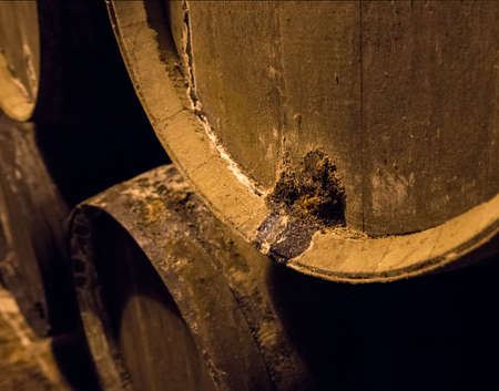 Leakage of sherry from casks or barrels along wall of winery for aging sherry or port Reklamní fotografie