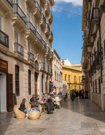 VALENCIA, SPAIN - MARCH 16, 2018: Tower and Church of Santa Catalina in old city of Valencia in Spain