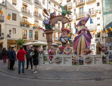 VALENCIA, SPAIN - MARCH 16, 2018: Complex statues known as Ninots in old city of Valencia during the Fallas Festival in March