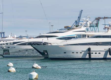 Luxury power boats in the Royal Marina in Valencia Spain Stock Photo