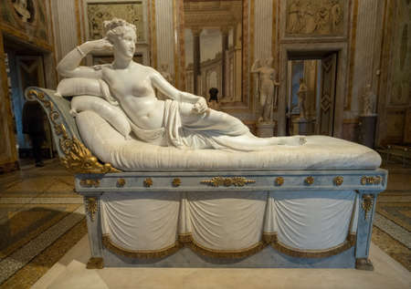ROME, ITALY - MARCH 18, 2018: Sculpture of Pauline Bonaparte in Borghese Gallery in Rome Editorial