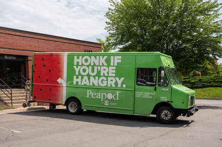 CHANTILLY, VA, USA - MAY 21, 2018: Peapod food delivery truck from Giant supermarket Editorial