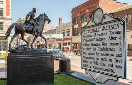 CLARKSBURG, WV - 15 JUNE 2018: Statue of Stonewall Jackson who was born in Clarksburg, West Virginia
