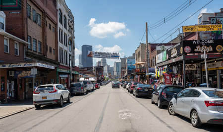 PITTSBURGH, PA - 4 JULY 2018: Restaurants line the street in the Strip District in Pittsburgh