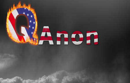 Concept background illustration for QAnon or Q Anon, a deep state conspiracy theory Stock Photo