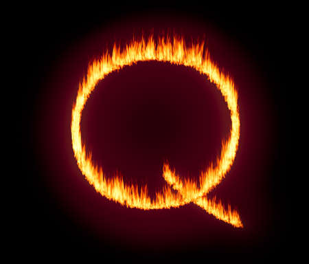 Concept fire or flames background illustration for QAnon or Q Anon, a deep state conspiracy theory Stock Photo