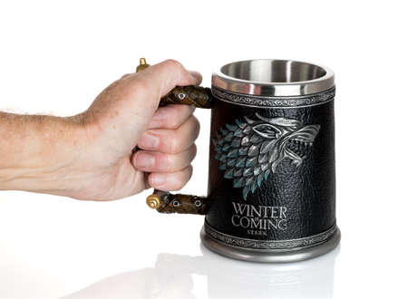 MORGANTOWN, WV - 25 September 2018: Official authorized tankard from HBO Series the Game of Thrones on white background Editorial