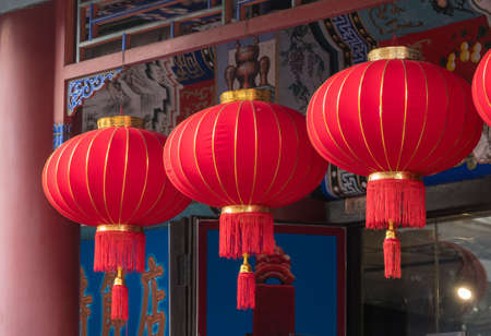 Traditional red lanterns in famous Cultural Shopping Street in TIanjin Stock Photo