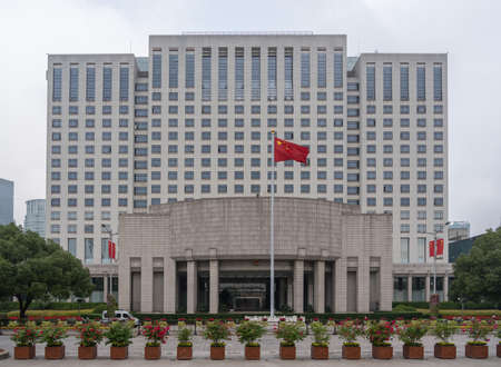 SHANGHAI, CHINA - 25 OCTOBER 2018: Exterior of Shanghai Peoples Government building