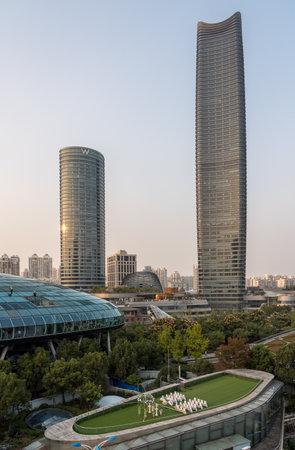 SHANGHAI, CHINA - 26 OCTOBER 2018: Wedding chapel on roof of Cruise Ship International Terminal in Shanghai