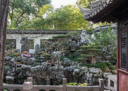 Ornamental rock garden in Yu or Yuyuan Garden in  the old city of Shanghai