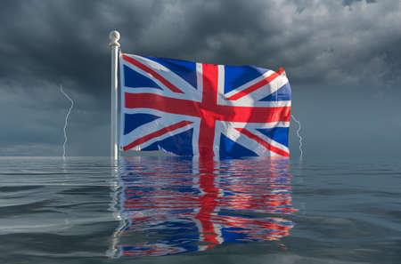 Brexit image of UK flag Union Jack sinking slowly under the waves in storm