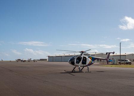 LIHUE, KAUAI - JANUARY 19, 2018: Hughes 500 open door helicopter from Jack Harter tour of Kauai