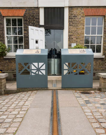 LONDON, UK - 23 APRIL 2019: Greenwich Meridian line at the Royal Observatory in London