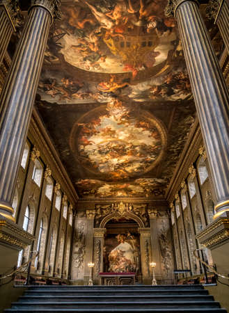 LONDON, UK - 23 APRIL 2019: Newly renovated and cleaned Painted Hall in Greenwich Naval College