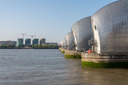 Detail of the Thames Barrier in docklands of London near Greenwich Reklamní fotografie - 121787160