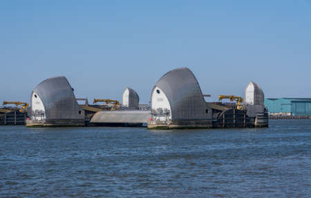 Detail of the Thames Barrier in docklands of London near Greenwich Reklamní fotografie - 121787161