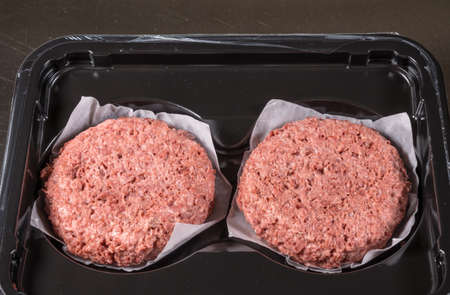 Close shot of the meat like plant-based patties for vegetarian beef burgers