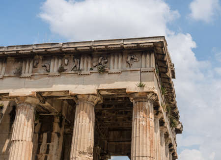 Detail of the columns and carving on Temple of Hephaestus in Greek Agora Athens Stock Photo