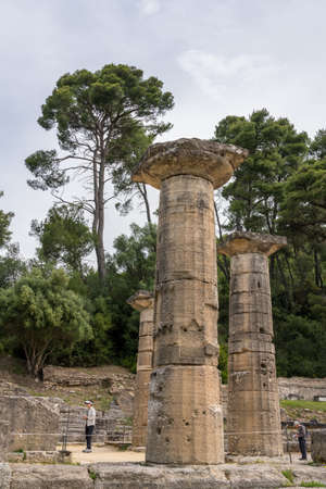 OLYMPIA, GREECE - 19 MAY 2019: Ruins of Temple of Hera at Olympia at the site of the first Olympic games