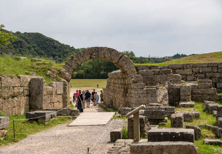 OLYMPIA, GREECE - 19 MAY 2019: Entrance to stadium at Olympia at the site of the first Olympic games near Athens Greece