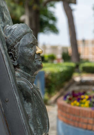 CORFU, GREECE - 20 MAY 2019: Brass bust of Lawrence Durrell by Old Fortress