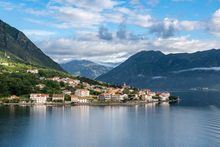 Small village of Prcanj on coastline of Gulf of Kotor in Montenegro Stok Fotoğraf