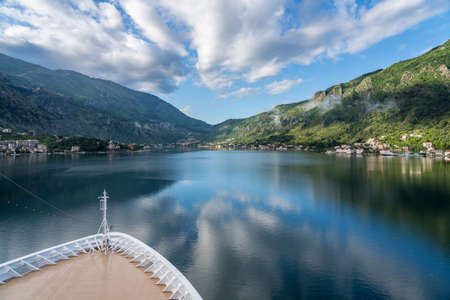 Small village of Prcanj on coastline of Gulf of Kotor in Montenegro Stock Photo