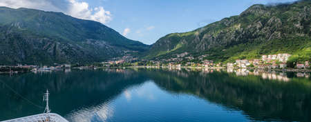 Approaching town of Kotor and the coastline of Gulf of Kotor in Montenegro Stock Photo