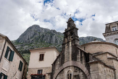 St Lukes Church on pedestrian streets of old town Kotor in Montenegro 写真素材
