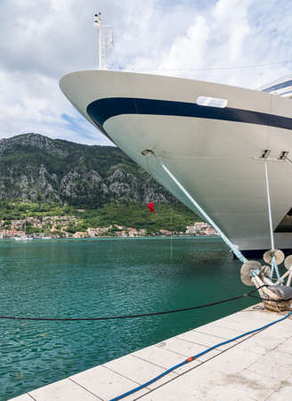 KOTOR, MONTENEGRO - 21 MAY 2019: Prow of Viking Star in Kotor, Montenegro Stock fotó