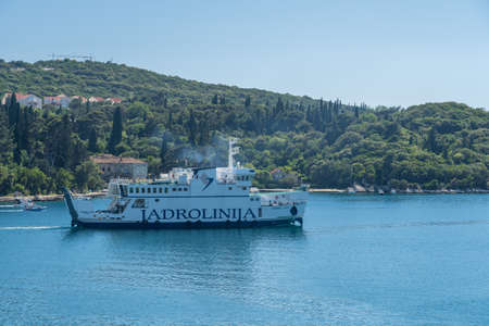 Dubrovnik, Croatia - 22 May 2019: Jadrolinja Ferry boat leaving Dubrovnik cruise port