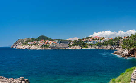 Panorama of the hotels and vacation apartments close to the old town in Dubrovnik